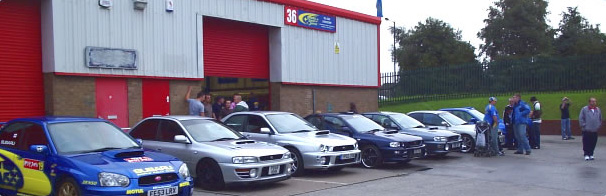 lots of subarus outside our premises
